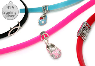 PINK Rubber 925  Wholesale Sterling Silver Necklace  for Charms