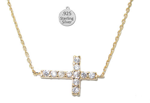 Hot 925 Sterling Silver Sideways Cross Necklace