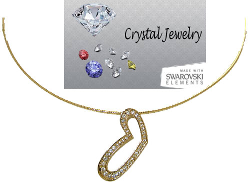 Austrian Crystal Heart Pendant Yellow Gold