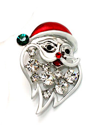 Xmas Santa Clause Pin Clear Stones White Gold