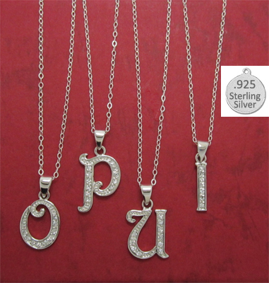 I LETTER in Sterling Charm Pendant Letter I on chain