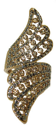 Designer gold ring jet hematite & light Colorado topaz crystals