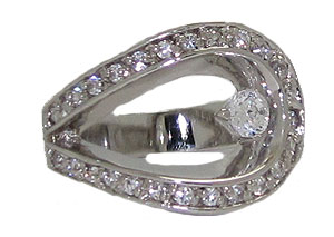 Designer Swirl White Gold Ring