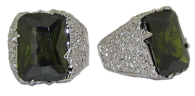 Large Designer Ring Olive Green Austrian Crystal