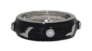 Black Hand EnameL Stack Ring Austrian Crystal
