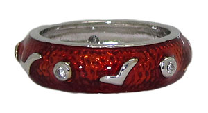Red Hand Enamel Stack Ring Austrian Crystal