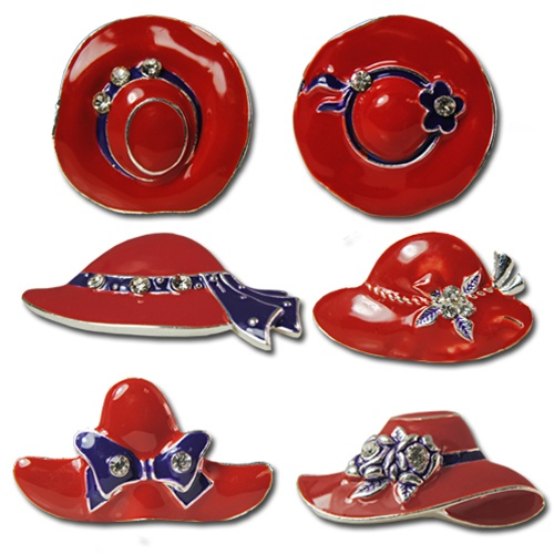 Red & blue enamal pins crystal rhinestones Red Hat