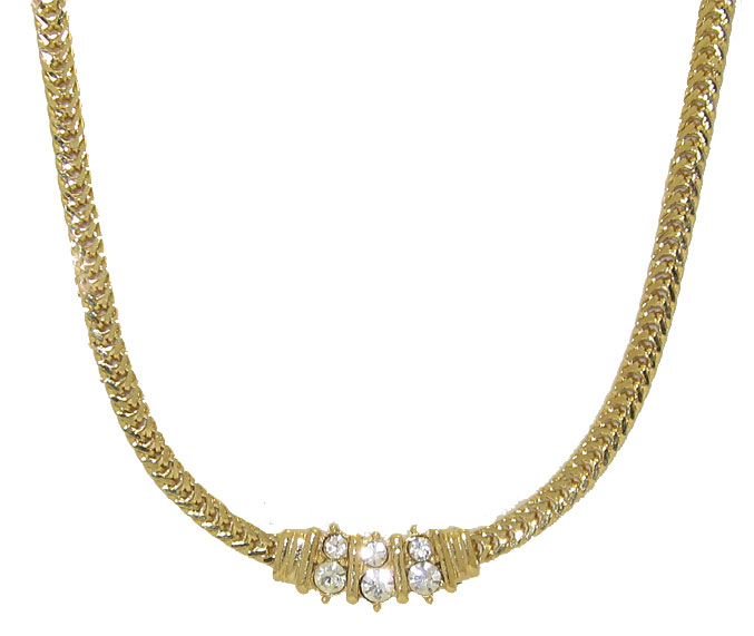 18kt Gold tone Necklace with Crystal Rhinestones