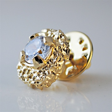 Mens Nugget and CZ Tie Tack Heavy Yellow Gold