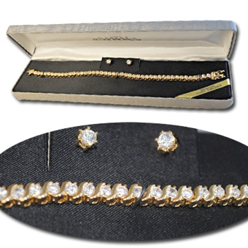 Cubic Zirconia gold plated bracelet & earrings