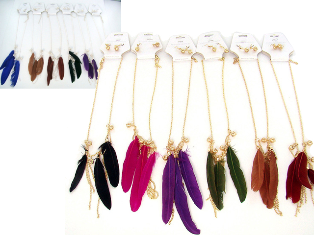 Feather Necklace & Earring Matching Set