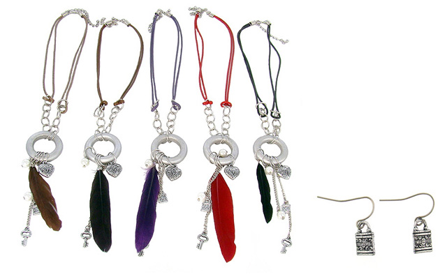 Feather N Charm Necklace and Earring Sets