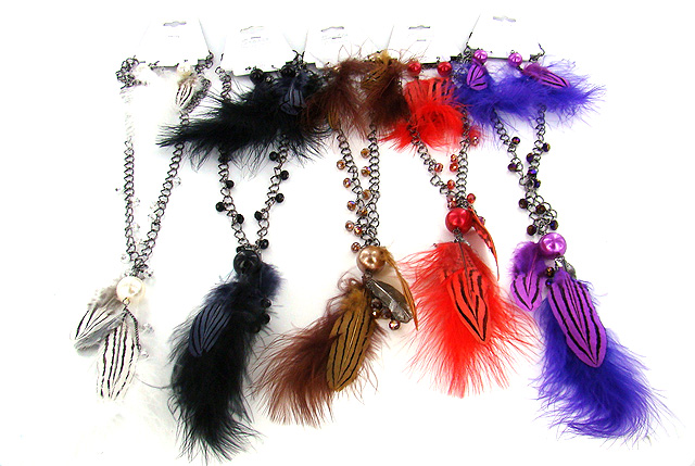 Feather Bead Necklace & Earring Sets