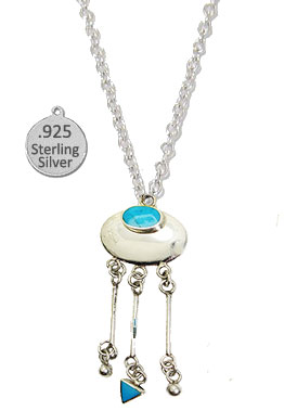 Sterling Silver & Genuine Turquoise Stone Necklace