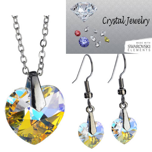 Swarovski Austrian crystal necklace and earring 2 pcs set with pouch White