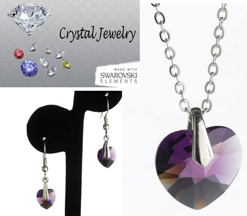 Amethyst necklace and earring 2 pcs set with pouch White