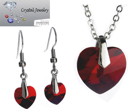 Ruby Red necklace and earring 2 pcs set with pouch White