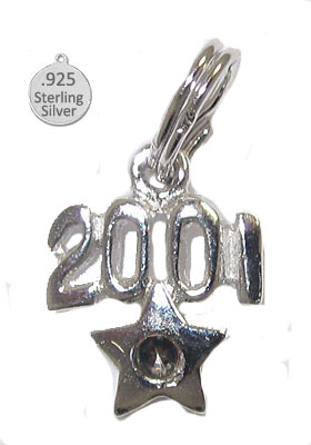 925 Sterling Silver 2001 Year Charms