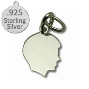 925 Sterling Silver Boy Silhouette Charm