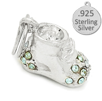 Sterling Silver Blue Baby Shoes Charm