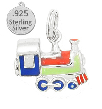 925 Sterling Silver Hand Enameled Train Engine - Enamled charm