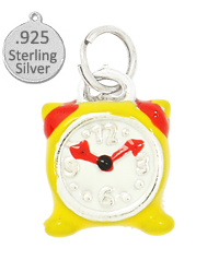 Sterling Silver Alarm Clock Enameled charm