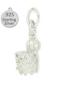 925 Sterling Silver Basketball net charm
