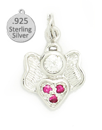 925 Sterling Silver Angel Heart Wholesale Charm