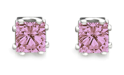 Pink CZ princess cut stud earrings 8 prong setting heavy rodium overlay