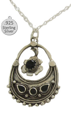 Genuine Black Onyx & Silver Pendant with Chain