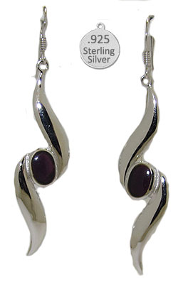 Silver & Genuine Amethyst Earrings Native American