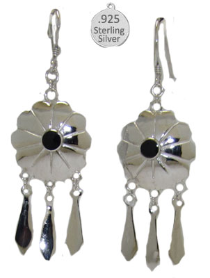 Silver Genuine Gemstone Black Onyx Wholesale Earrings