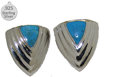 Genuine Turquoise .925 Sterling Silver Earrings