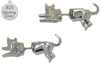 925 Sterling Silver Cat Earrings