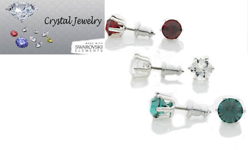3 Stud Earrings Swarovski Crystal with pouch white gold