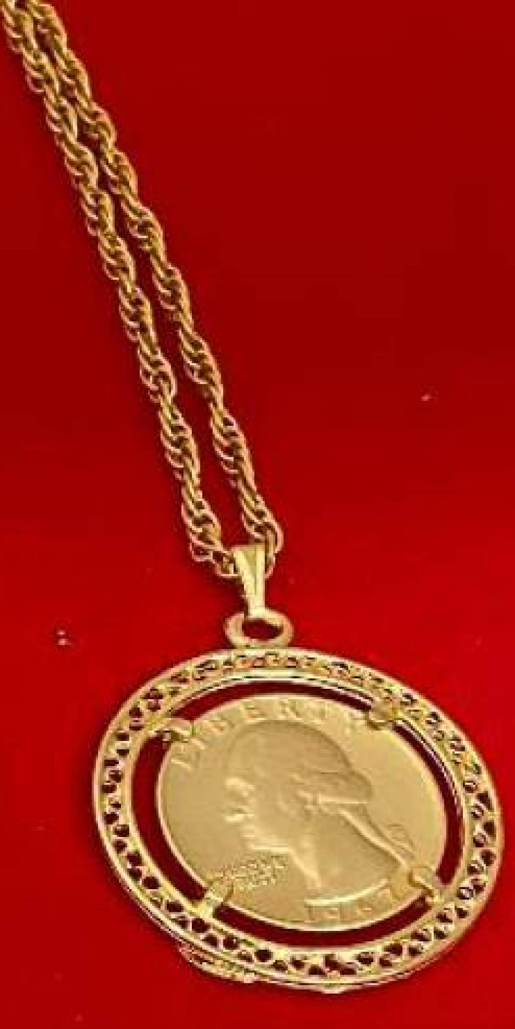 Washington quarter coin necklace fancy