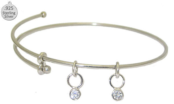 Expandable Bangle with pair of Sterling Charms