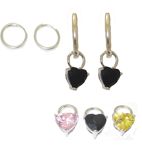 CZ Heart Charms and Hoops 3 Pairs