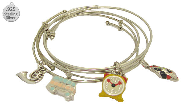 Expandable Bangle with Great Sterling Charms