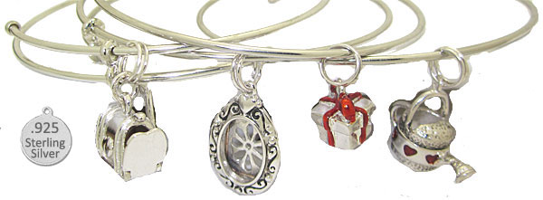 Expandable Bangle and Sterling Charm