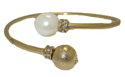 Pearl Double Ball Bangle Bracelets