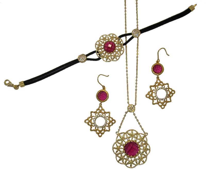 High End Ruby Red 3 Pcs Set
