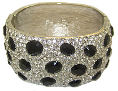 Black High End Bangle Bracelets, Accent in Crystal