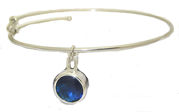 Expandable Bangle with Blue Stone Charm