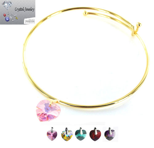 Crystal Stone Heart Charm Bangle Bracelet with pouch yellow gold & Ruby Red