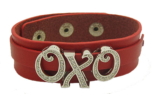 Red Leather Charm Bracelet with Sterling Silver Charms