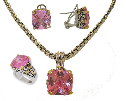 Designer Cable Jewelry 3 pcs  Set Earring, Necklace, Ring Clear Pink
