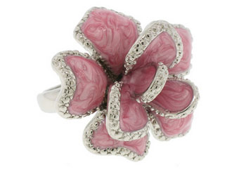 Light Pink Epoxy ring Austrian Crystal Stone