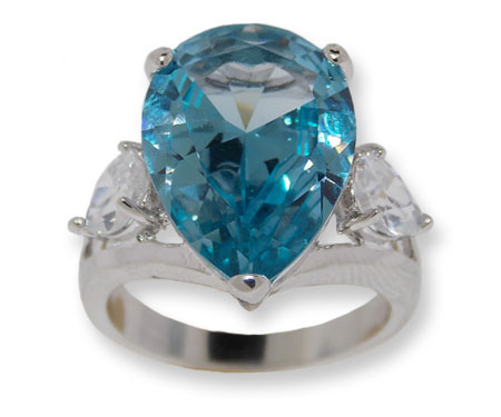 Pear+shaped+CZ+Ring+Blue+Topaz