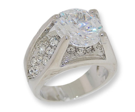 One of a Kind White CZ and White Czech crystals ring